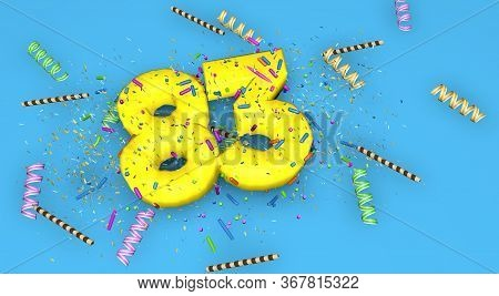 Number 83 For Birthday, Anniversary Or Promotion, In Thick Yellow Letters On A Blue Background Decor