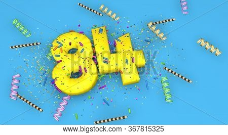 Number 84 For Birthday, Anniversary Or Promotion, In Thick Yellow Letters On A Blue Background Decor