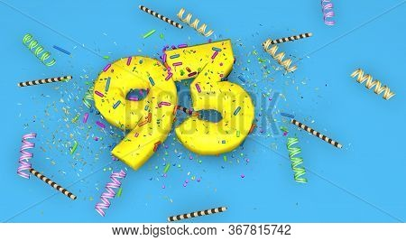 Number 93 For Birthday, Anniversary Or Promotion, In Thick Yellow Letters On A Blue Background Decor