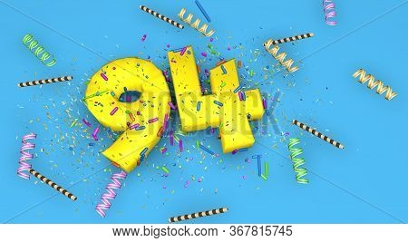 Number 94 For Birthday, Anniversary Or Promotion, In Thick Yellow Letters On A Blue Background Decor