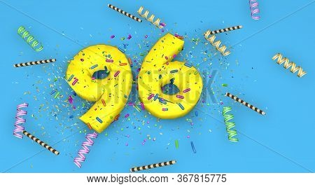 Number 96 For Birthday, Anniversary Or Promotion, In Thick Yellow Letters On A Blue Background Decor