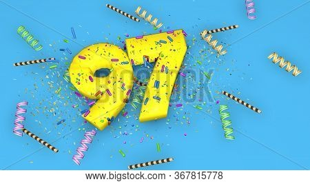 Number 97 For Birthday, Anniversary Or Promotion, In Thick Yellow Letters On A Blue Background Decor