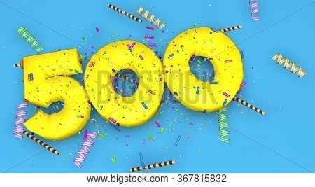 Number 500 For Birthday, Anniversary Or Promotion, In Thick Yellow Letters On A Blue Background Deco