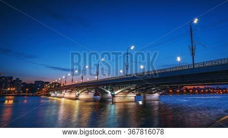 Beautiful Panoramic View At Illuminated Voronezh City Bridge In Blue Hour After Sunset.
