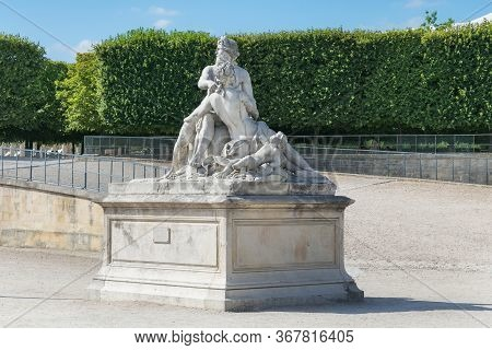 View Of The Marble Sculpture Seine And Marne (copy Of The Sculpture 1712 By Nicolas Coustou (1658-17