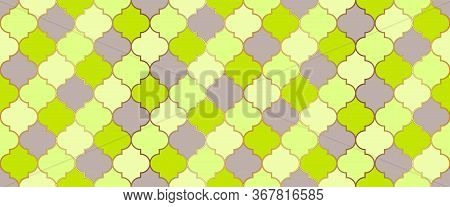 Seamless Moroccan Texture Ramadan Traditional Mosque Golden Tile. Turkish Mosque Window Shape. Eid M