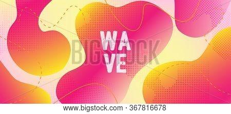 Pink Yellow Fluid Vector Banner. Neon Modern Creative Flyer Layout. Waves Dynamic Illustration. Digi