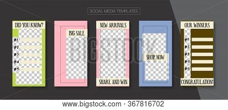 Mobile Stories Vector Collection. Minimal Sale, New Arrivals Story Layout. Online Shop Polygon Invit