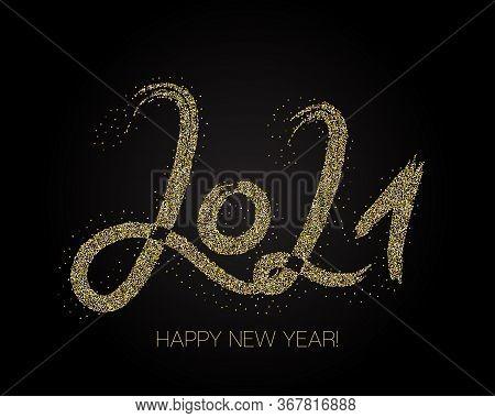2021 Gold Brushstroke Banner. Stylish Happy New Year Typography. Painted 2021 Modern Minimal Logo. W