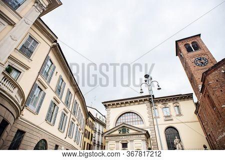 Milan. Italy - May 20, 2019: Ambrosian Library in Milan. Biblioteca Pinacoteca Accademia Ambrosiana. Church of San Sepolcro.