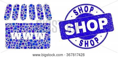 Geometric Webshop Mosaic Pictogram And Shop Watermark. Blue Vector Round Grunge Seal With Shop Title