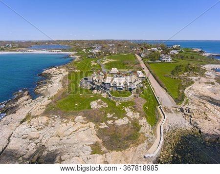 Historic mansion the Waves aerial view at 61 Ledge Road at Newport, Rhode Island RI, USA.