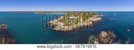 Historic mansion the Waves aerial view panorama at 61 Ledge Road at Newport, Rhode Island RI, USA.