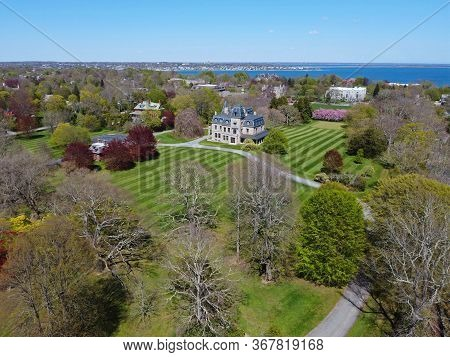 Chateau-sur-Mer aerial view at Newport, Rhode Island RI, USA. Chateau-sur-Mer is a Gilded Age mansion with French Renaissance style built in 1851 in Bellevue Avenue Historic District in Newport.