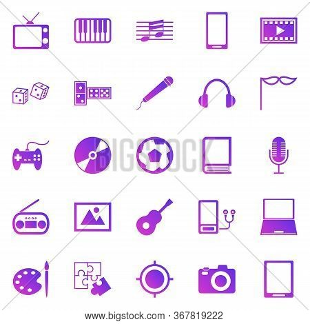 Entertainment Gradient Icons On White Background, Stock Vector