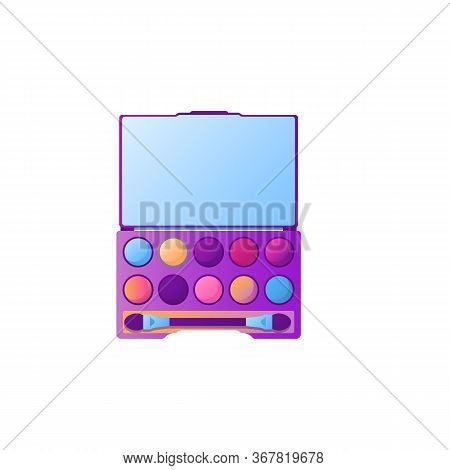 Cartoon Eyeshadow Palette With Different Colors. Cosmetic Product Element Template In Gradient Color