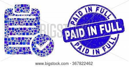 Geometric Accept Pad Text Mosaic Icon And Paid In Full Seal Stamp. Blue Vector Round Textured Seal S