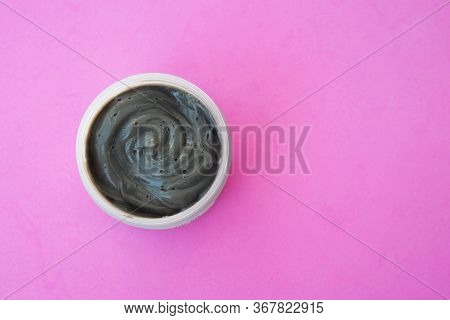 Cream Face Mask Gray Pink Background Top View, Skin Care