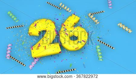 Number 26 For Birthday, Anniversary Or Promotion, In Thick Yellow Letters On A Blue Background Decor