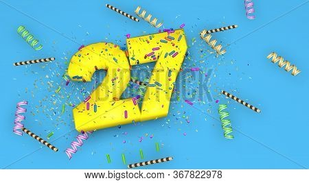 Number 27 For Birthday, Anniversary Or Promotion, In Thick Yellow Letters On A Blue Background Decor