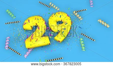 Number 29 For Birthday, Anniversary Or Promotion, In Thick Yellow Letters On A Blue Background Decor