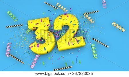 Number 32 For Birthday, Anniversary Or Promotion, In Thick Yellow Letters On A Blue Background Decor