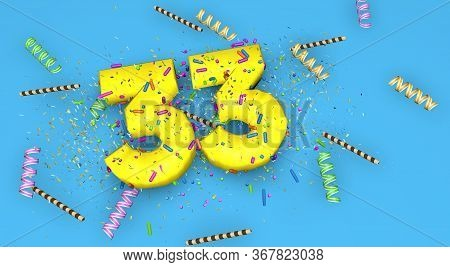 Number 33 For Birthday, Anniversary Or Promotion, In Thick Yellow Letters On A Blue Background Decor