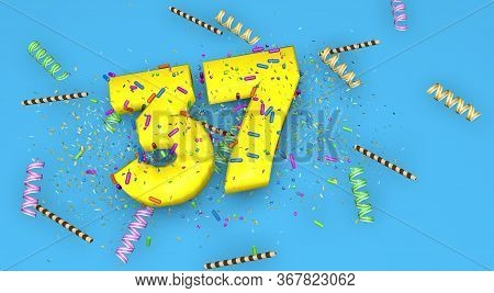 Number 37 For Birthday, Anniversary Or Promotion, In Thick Yellow Letters On A Blue Background Decor