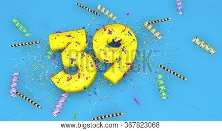 Number 39 For Birthday, Anniversary Or Promotion, In Thick Yellow Letters On A Blue Background Decor
