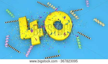 Number 40 For Birthday, Anniversary Or Promotion, In Thick Yellow Letters On A Blue Background Decor