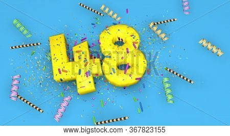 Number 48 For Birthday, Anniversary Or Promotion, In Thick Yellow Letters On A Blue Background Decor