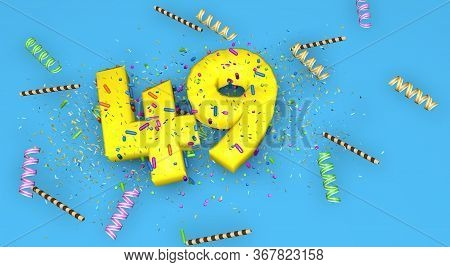 Number 49 For Birthday, Anniversary Or Promotion, In Thick Yellow Letters On A Blue Background Decor