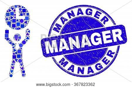Geometric Time Manager Mosaic Icon And Manager Stamp. Blue Vector Round Scratched Seal Stamp With Ma