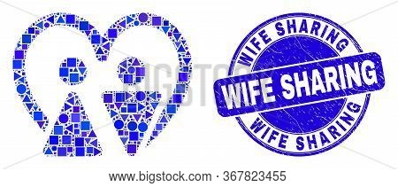 Geometric Married Persons Mosaic Pictogram And Wife Sharing Seal. Blue Vector Round Grunge Seal With