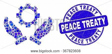 Geometric Gear Care Hands Mosaic Icon And Peace Treaty Stamp. Blue Vector Rounded Distress Stamp Wit