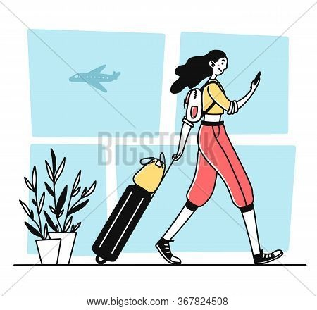 Female Tourist Walking In Airport. Woman With Smartphone And Luggage Flat Illustration. Travel, Trip
