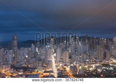 Balneario Camboriu, Santa Catarina, Brazil - November 19, 2019: Night View Of Balneario Camboriu, An