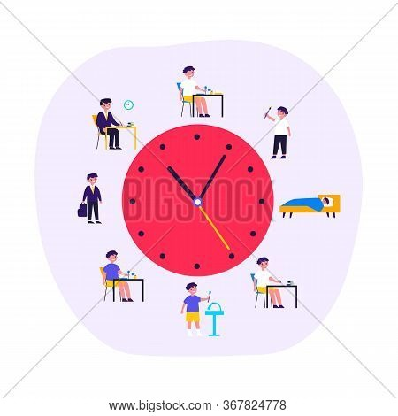 Kid Life Schedule Flat Vector Illustration. Cartoon Schedule Including Breakfast, Eating, School, Ho