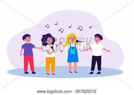 Group Of Children Singing Song With Microphones. Kids Attending Music School, Singing In Church Choi
