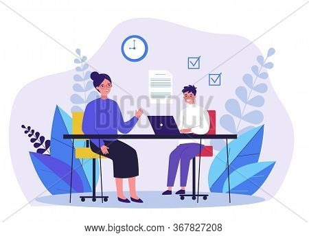 Female Teacher Checking Task Of Student. Teenager Learning With Tutor Flat Vector Illustration. Educ