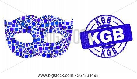 Geometric Private Mask Mosaic Icon And Kgb Seal Stamp. Blue Vector Round Scratched Seal Stamp With K