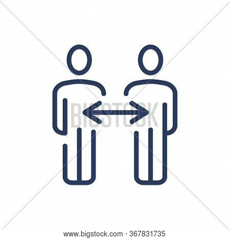 Interchanging Position Thin Line Icon. Staff, Occupation, Employee Isolated Outline Sign. Business C