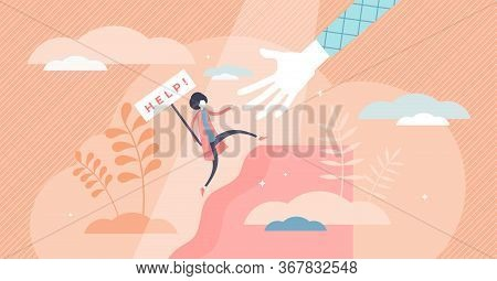 Female Help Vector Illustration. Woman Safety Care Flat Tiny Persons Concept. Symbolic Sign With Ask