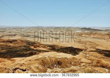 Makhtesh Ramon - Ramon Crater In Israels Negev Desert From The Mitzpe Ramon Lookout, With Mount Ramo