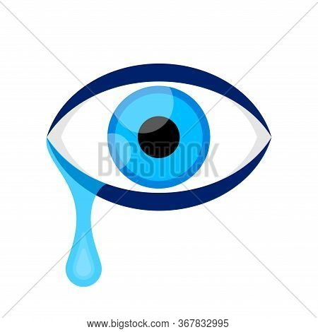 Eyes Blue And Tears Cry Isolated On White, Eyeball And Teardrop, Eyes And Tear Drops For Clip Art, I