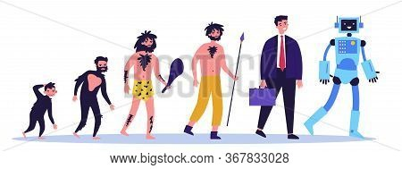 Human Evolution Theory Flat Vector Illustration. Way From Monkey To Cyborg Or Robot. Cavemen As Ance
