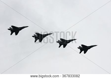 Moscow, Russia - May 9, 2020:mig-29 Smt Fighters During A Parade Dedicated To The 75th Anniversary O