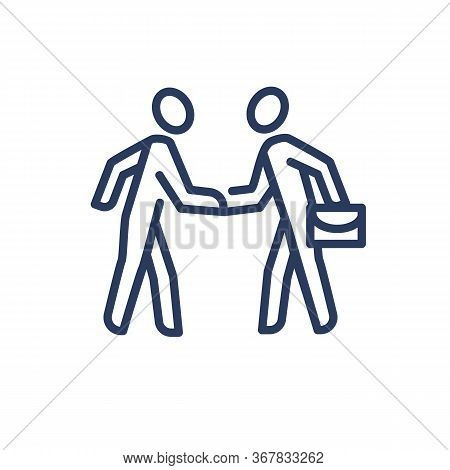 Two Businesspeople Shaking Hands Thin Line Icon. Business, Case, Agreement Isolated Outline Sign. Fr
