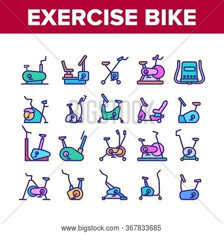 Exercise Bike Sport Collection Icons Set Vector. Bike Sportive Equipment, Gym And Fitness Physical T