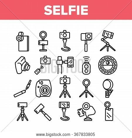 Selfie Photo Camera Collection Icons Set Vector. Selfie Stick And Tripod, Lens And Light Equipment,